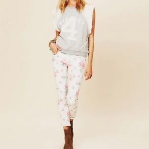 Free People Rose Floral White Skinny Jeans